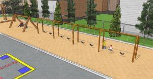 Balançoires du futur parc école