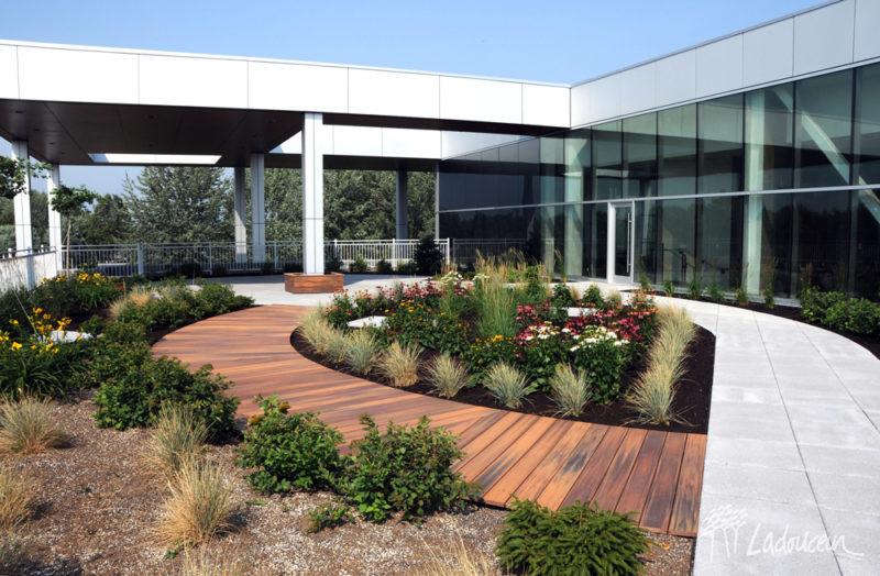 Trottoir de bois et en pave de beton et amenagement paysager sur la terrasse toit vert maison des arts desjardins drummondville par ladouceur